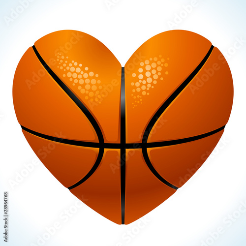 Vector Ball for basketball in the shape of heart