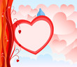 Valentine Day Greeting Card with abstract heart background