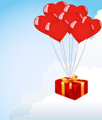 Bunch Of red Heart Shape Balloons