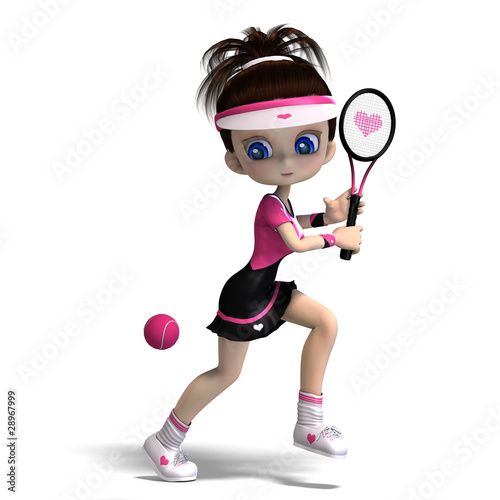 sporty toon girl in pink clothes plays tennis. 3D rendering