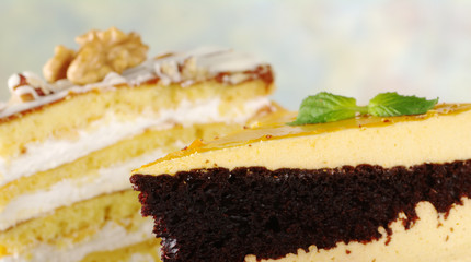 Lucuma and walnut layer cakes