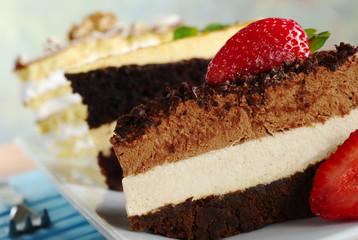 Chocolate Mousse Cake, Lucuma Cake and Walnut Cake