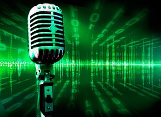 fondo musical tecnologico con microfono y lenguaje binario