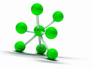 imagen 3d de estructura molecular aislada en blanco