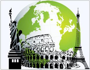 New York Rome Paris USA Italy France landmarks world