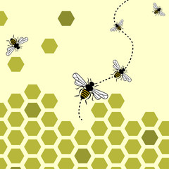 Abstract background with flying bees and honeycombs