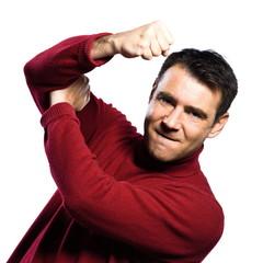caucasian man anger rude obscene gesture