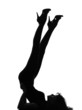 silhouette woman liying on floor gymnastic legs