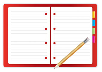 Red Notebook and Pencil