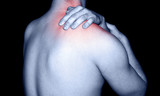man rubbing shoulder muscle pain poster