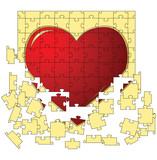 The red heart collected from puzzles