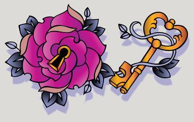 rosa serratura tattoo