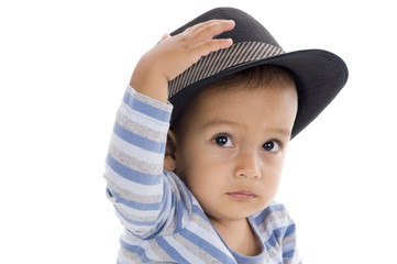 cute little boy with hat, isolated on white background