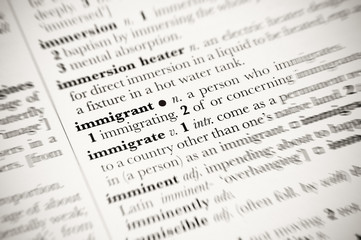 dictionary definition of immigrant with blurred edges
