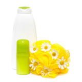 Bodycare product with daisy isolated on a white background poster