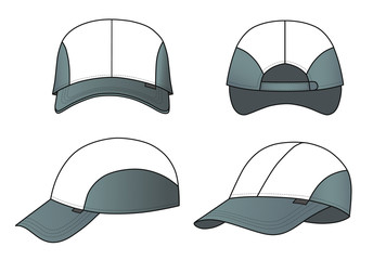Cap vector illustration featured front, back, side