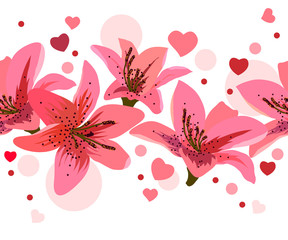 Seamless border made of pink lilies and circles
