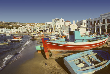 Harbor on Greek island of Mykonos