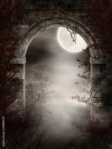 Gotyckie ruiny z cierniami i mgłą