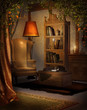 Pokój retro z lampą