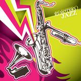Designed electro jazz artistic banner. poster