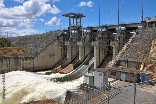 Wivenhoe Dam with one open gate - 28987508