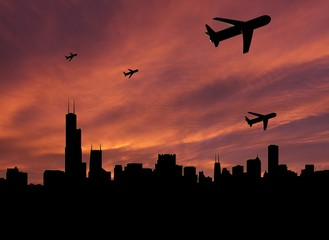 planes departing Chicago at sunset illustration