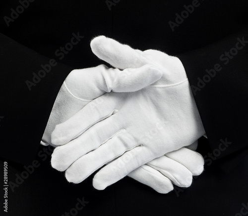 Gloves behind back
