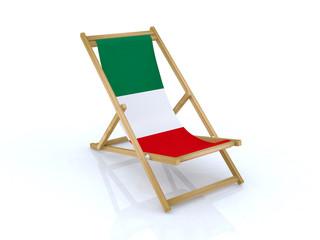 wood beach chair with italy flag