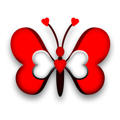 Red decorative butterfly with heart wings