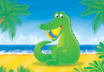 Crocodile on a beach