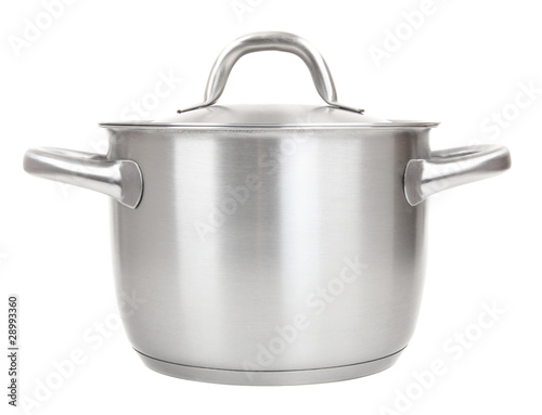 stainless pot isolated on white background