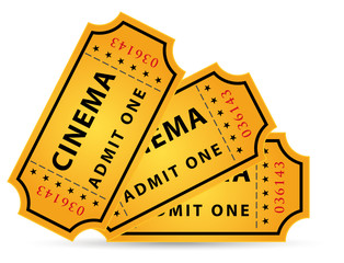 set of three cinema tickets