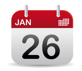 Red calendar of january