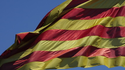 the catalan flag waving on the wind