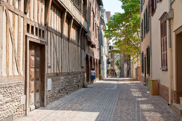 street with half-timbered houses in in Troyes, France