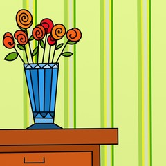 vaso di fiori su mobile