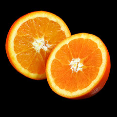 Orange sliced isolated on black