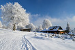 Idylic winter landscape with wooden chalet