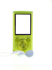 green mp3 player isolated on white background