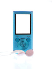 blue mp3 player isolated on white background