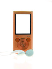 orange mp3 player isolated on white background