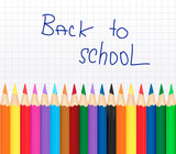 Fototapety Back to school. Background with color pencils. Vector .