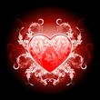 Red valentines heart with floral pattern