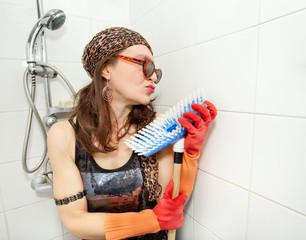 eccentric hippie loving brush in bathroom