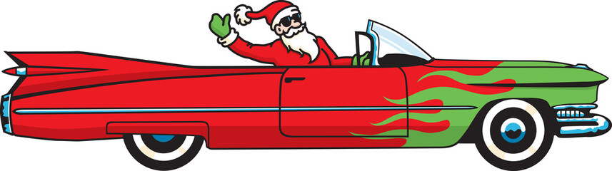 Santa Claus comes to town in a hot rod convertible