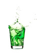 Green soft drink on a white background