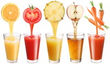 Fototapety Conceptual image - fresh juice pours from fruits and vegetables