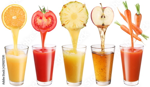 Conceptual image - fresh juice pours from fruits and vegetables - 29007591