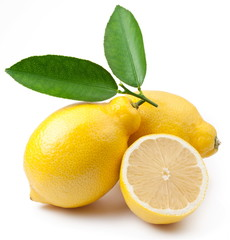 High-quality photo of ripe lemons on a white background
